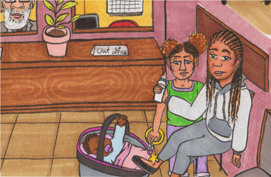 illustration of mother and children in a waiting room